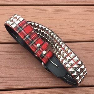 Hot Topic Plaid Studded Belt